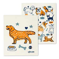 Dogs with Names Swedish Dish Cloths (Set of 2)