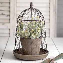 Rustic Garden Pot with Chicken Wire Cloche