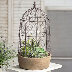 Rustic Garden Pot with Chicken Wire Cloche - Tall