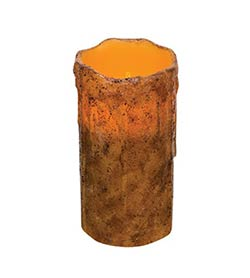Burnt Mustard Dripped Pillar Candle - 6 x 3 inches