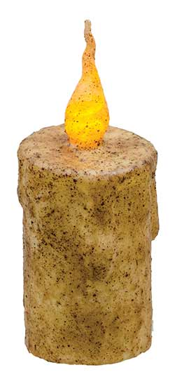 Burnt Ivory Battery Drip Flicker Pillar Candle - 5 inch