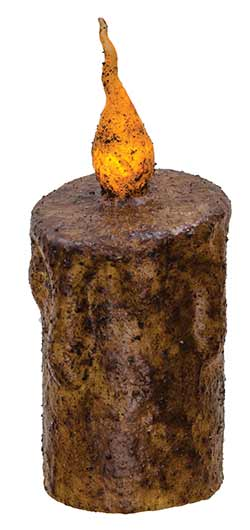 Burnt Mustard Battery Drip Flicker Pillar Candle - 5 inch