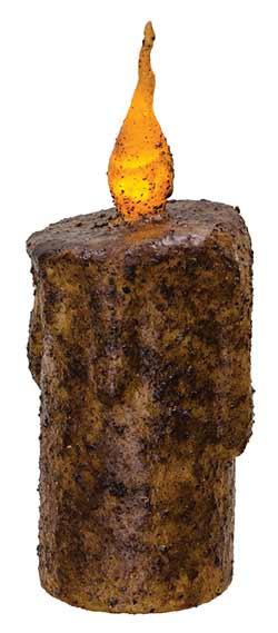 Burnt Mustard Battery Drip Flicker Pillar Candle - 5.5 inch