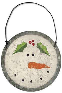 Snowman Tin Ornament