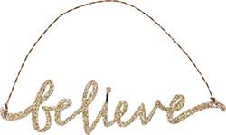 Believe Glitter Ornament - Gold