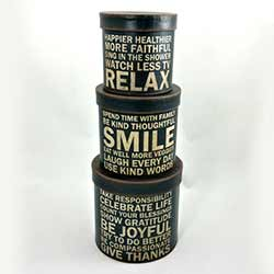 Relax, Smile, Be Joyful Stacking Boxes (Set of 3)