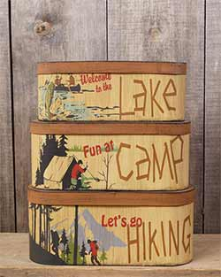 Lake, Camp, Hiking Oval Stacking Boxes (Set of 3)