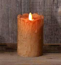 Tan Primitive Flameless Pillar Candle (with Timer) - 5 inch