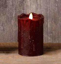 Burgundy Primitive Flameless Pillar Candle (with Timer) - 5 inch