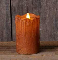 Rust Primitive Flameless Pillar Candle (with Timer) - 5 inch