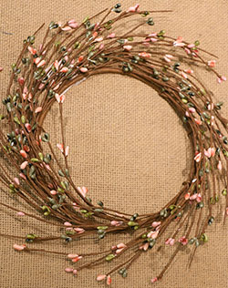Coral & Green Primitive Berry Candle Ring / Wreath