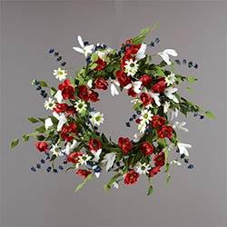 Patriotic Roses & Daisies Wreath