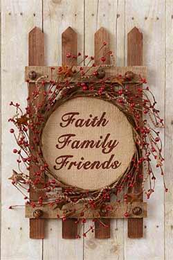 Faith, Family, Friends Berry Wreath on Fence