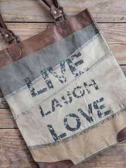 Live, Laugh, Love Vintage Canvas Handbag