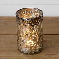 Silver Mercury Glass Candle Holder - Large