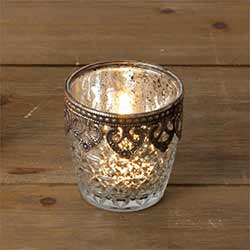 Silver Mercury Glass Candle Holders (Set of 2) - Small
