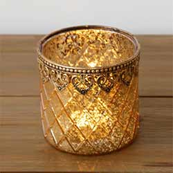 Gold Mercury Glass Candle Holders (Set of 2) - Large