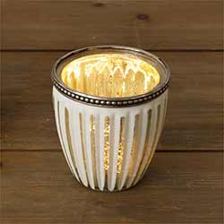 White Ribbed Mercury Glass Candle Holders (Set of 2) - Medium