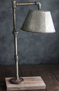 Industrial Pipe Table Lamp with Galvanized Shade