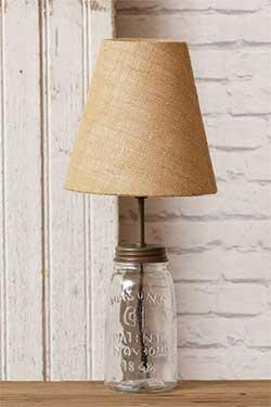 Mason Jar Table Lamp with Burlap Shade - Clear glass