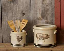 Pig & Rooster Crocks (Set of 2)
