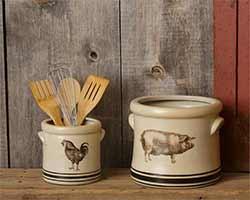 Pig & Rooster Crocks (Set of 2)