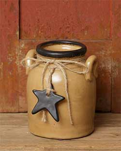 Primitive Black Star Small Mouth Crock with Handles