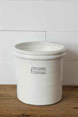 White Cottage Stoneware Small Crock