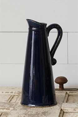 Navy Blue Pottery Pitcher