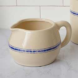 Blue Grain Stripe Pottery Pitcher
