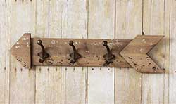 Rustic Wood Arrow Triple Wall Hook