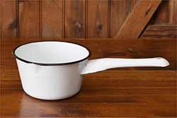 White Enamelware Dipper