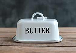 White Enamel Covered Butter Dish