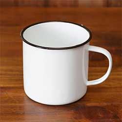 White Enamelware Mugs (Set of 2)