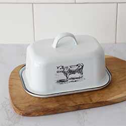Vintage Cow Enamelware Butter Dish