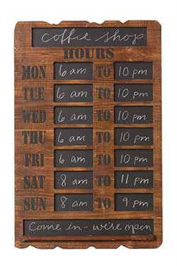 Rustic Business Hours Chalkboard