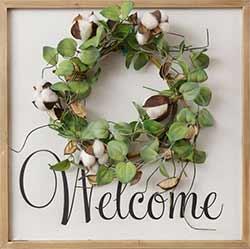 Welcome Framed Sign with Wreath