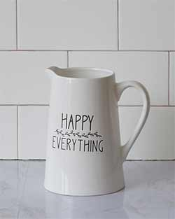 Happy Everything White Pitcher