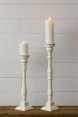 Antiqued White Pillar Candle Holders (Set of 2)
