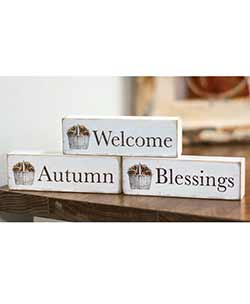 Welcome, Autumn, Blessings Shelf Sitters (Set of 3)