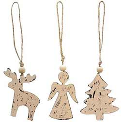 Angel, Tree, Reindeer Ornaments (Set of 3)