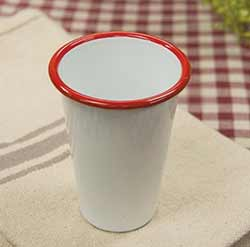 White Enamel Tumbler with Red Rim