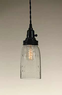 Mason Jar Pendant Lamp - Quart Size