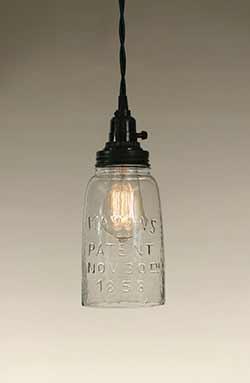 Mason Jar Pendant Lamp - Half Gallon Size