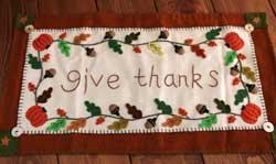 Give Thanks Felt Applique Tablerunner