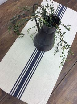 Cream with Navy Stripe 30 inch Table Runner