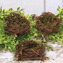 Mini Mossy Bird's Nests (Set of 3)