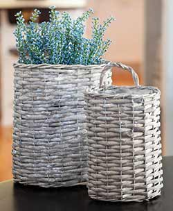 Gray Willow Oval Baskets (Set of 2)