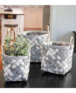 Grey & White Wooden Baskets (Set of 3)