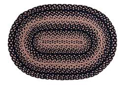 Ebony Black and Tan Braided Rug Floor Runner, Oval (22 x 72 inch)